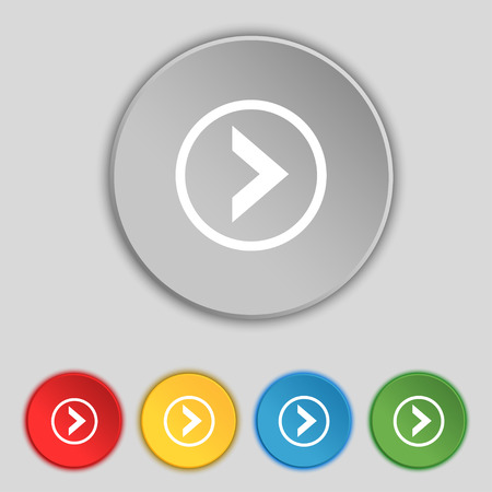 next icon: Arrow right, Next icon sign. Symbol on five flat buttons. Vector illustration