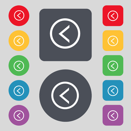 way out: Arrow left, Way out icon sign. A set of 12 colored buttons. Flat design. Vector illustration
