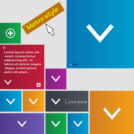 down load: Arrow down, Download, Load, Backup icon sign. Metro style buttons. Modern interface website buttons with cursor pointer. Vector illustration