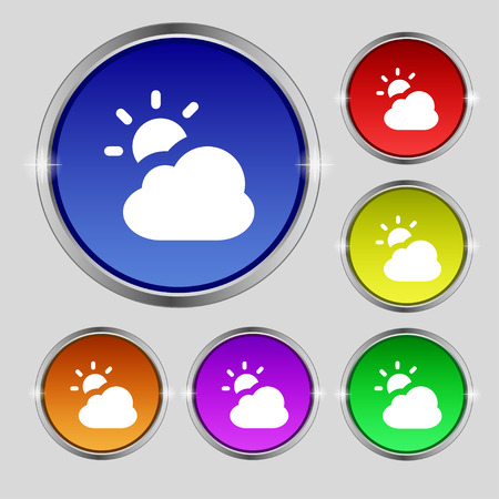 weekly: weather icon sign. Round symbol on bright colourful buttons. Vector illustration Illustration