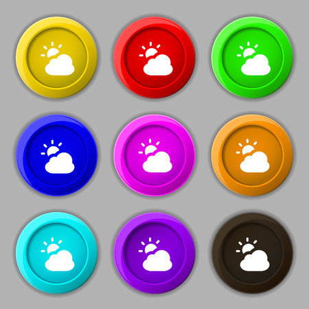 weekly: weather icon sign. symbol on nine round colourful buttons. Vector illustration Illustration