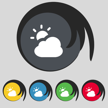 sign symbol: weather icon sign. Symbol on five colored buttons. Vector illustration