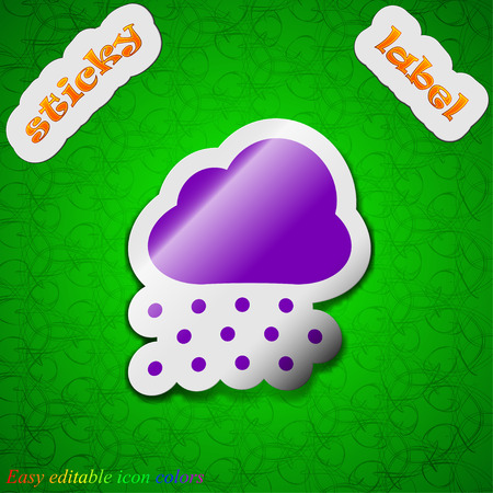 stormy clouds: snowing  icon sign. Symbol chic colored sticky label on green background. Vector illustration