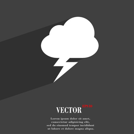 discharges: storm  icon symbol Flat modern web design with long shadow and space for your text. Vector illustration