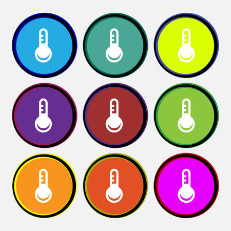 hotness: Thermometer, Temperature  icon sign. Nine multi-colored round buttons. Vector illustration