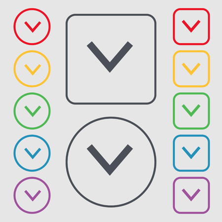 down load: Arrow down, Download, Load, Backup icon sign. symbol on the Round and square buttons with frame. Vector illustration