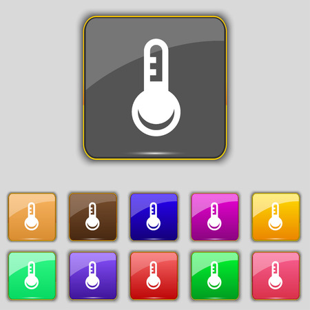 hotness: Thermometer, Temperature icon sign. Set with eleven colored buttons for your site. Vector illustration