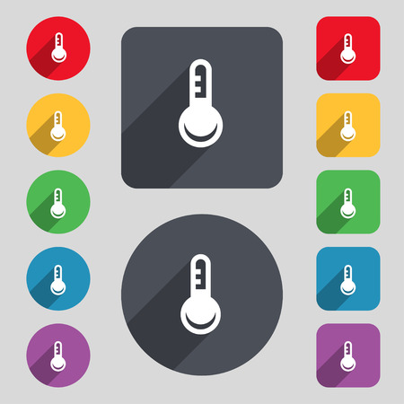 hotness: Thermometer, Temperature icon sign. A set of 12 colored buttons and a long shadow. Flat design. Vector illustration Illustration