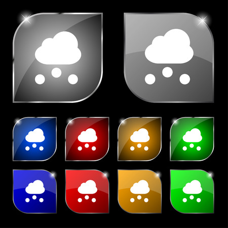 snowing: snowing icon sign. Set of ten colorful buttons with glare. Vector illustration