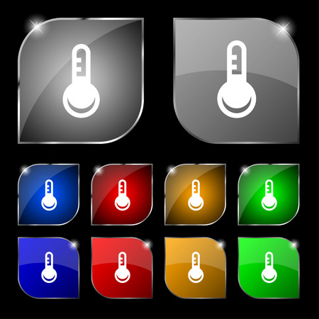 hotness: Thermometer, Temperature icon sign. Set of ten colorful buttons with glare. Vector illustration