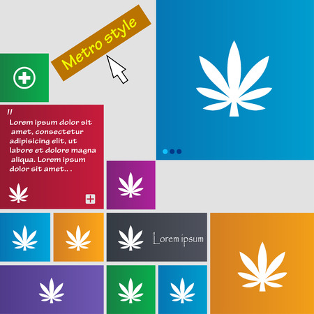 Cannabis leaf icon sign. Metro style buttons. Modern interface website buttons with cursor pointer. Vector illustration Ilustração