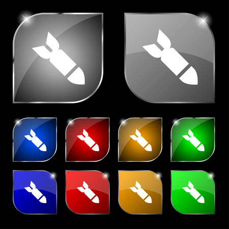 ballistic missile: Missile,Rocket weapon icon sign. Set of ten colorful buttons with glare. Vector illustration