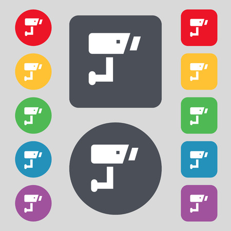 closed circuit television: Surveillance Camera icon sign. A set of 12 colored buttons. Flat design. Vector illustration