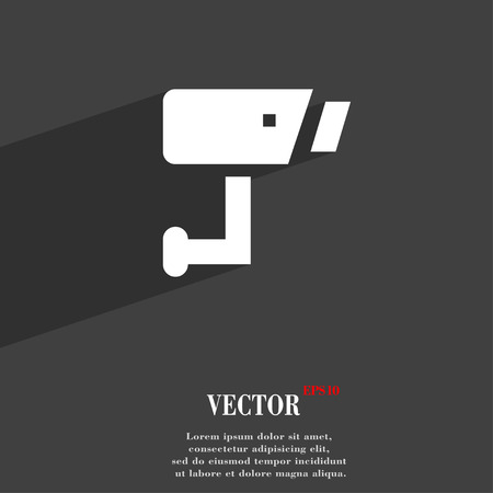 closed circuit television: Surveillance Camera  icon symbol Flat modern web design with long shadow and space for your text. Vector illustration