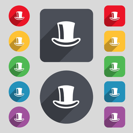 tophat: cylinder hat icon sign. A set of 12 colored buttons and a long shadow. Flat design. Vector illustration Illustration