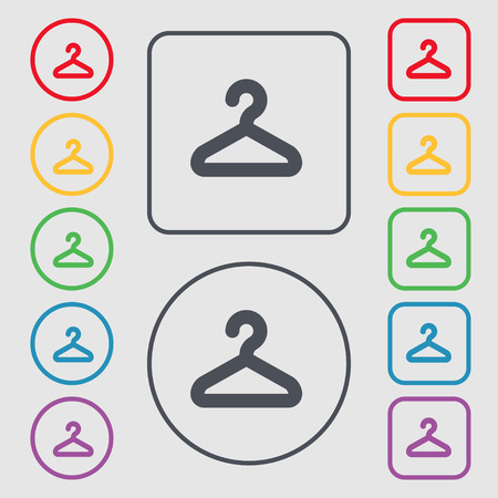 clothing rack: Hanger icon sign. symbol on the Round and square buttons with frame. Vector illustration