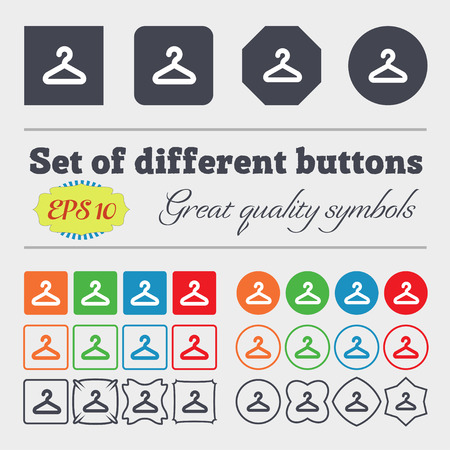 clothing rack: Hanger  icon sign Big set of colorful, diverse, high-quality buttons. Vector illustration Illustration