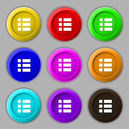 thumbnails: List menu, Content view options icon sign. symbol on nine round colourful buttons. Vector illustration