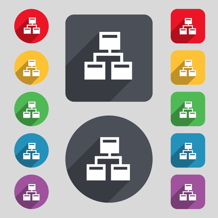 wireless lan: Local Network icon sign. A set of 12 colored buttons and a long shadow. Flat design. Vector illustration