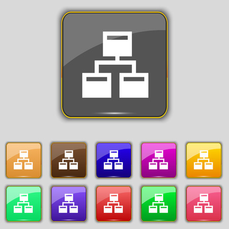 interconnect: Local Network icon sign. Set with eleven colored buttons for your site. Vector illustration