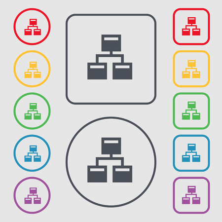 interconnect: Local Network icon sign. symbol on the Round and square buttons with frame. Vector illustration Illustration