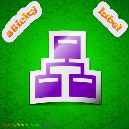 interconnect: Local Network  icon sign. Symbol chic colored sticky label on green background. Vector illustration