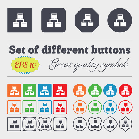 interconnect: Local Network  icon sign Big set of colorful, diverse, high-quality buttons. Vector illustration