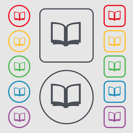 reading app: Open book icon sign. symbol on the Round and square buttons with frame. Vector illustration Illustration