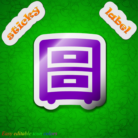 nightstand: Nightstand  icon sign. Symbol chic colored sticky label on green background. Vector illustration Illustration