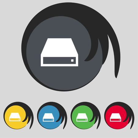 rom: CD-ROM icon sign. Symbol on five colored buttons. Vector illustration