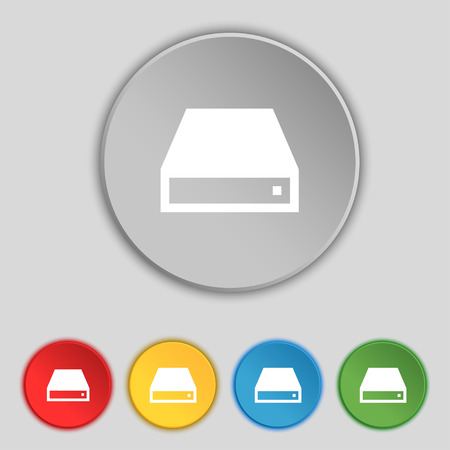 cdrom: CD-ROM icon sign. Symbol on five flat buttons. Vector illustration