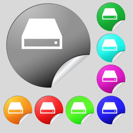 dvd rom: CD-ROM  icon sign. Set of eight multi-colored round buttons, stickers. Vector illustration