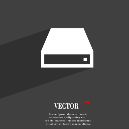 cdrom: CD-ROM  icon symbol Flat modern web design with long shadow and space for your text. Vector illustration