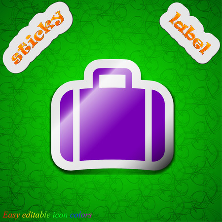 suit case: Suitcase  icon sign. Symbol chic colored sticky label on green background. Vector illustration