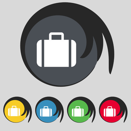 suit case: Suitcase icon sign. Symbol on five colored buttons. Vector illustration