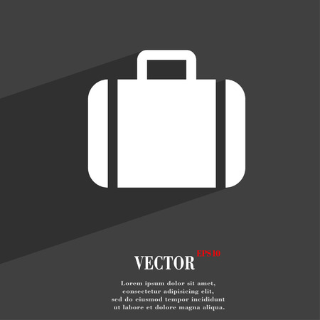 suit case: Suitcase  icon symbol Flat modern web design with long shadow and space for your text. Vector illustration