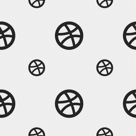 dribbling: Basketball icon sign. Seamless pattern with geometric texture. Vector illustration