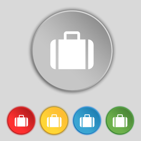 sign symbol: Suitcase icon sign. Symbol on five flat buttons. Vector illustration