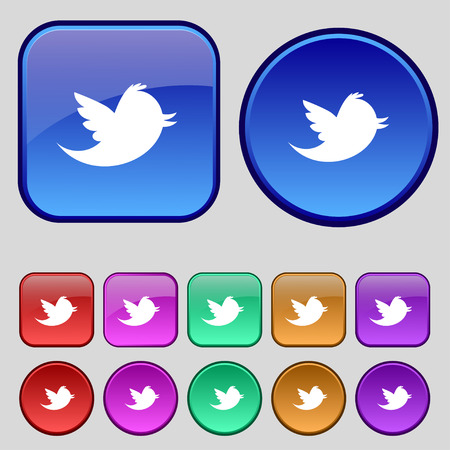 tokens: Social media, messages twitter retweet icon sign. A set of twelve vintage buttons for your design. Vector illustration Illustration