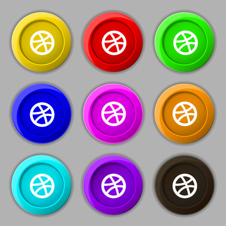 Basketball icon sign. symbol on nine round colourful buttons. Vector illustration