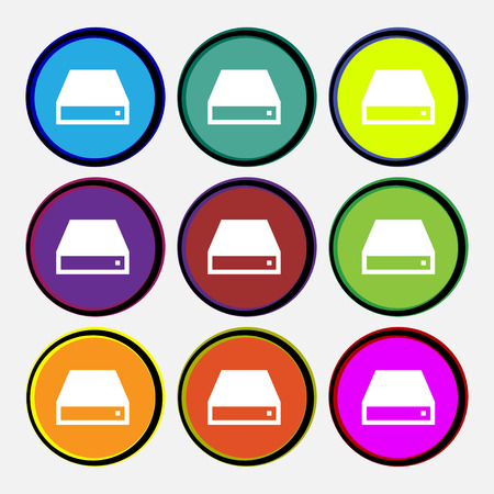 cdrom: CD-ROM  icon sign. Nine multi-colored round buttons. Vector illustration