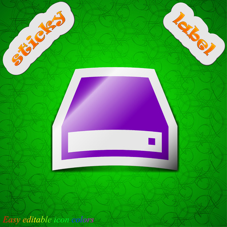 dvd rom: CD-ROM  icon sign. Symbol chic colored sticky label on green background. Vector illustration