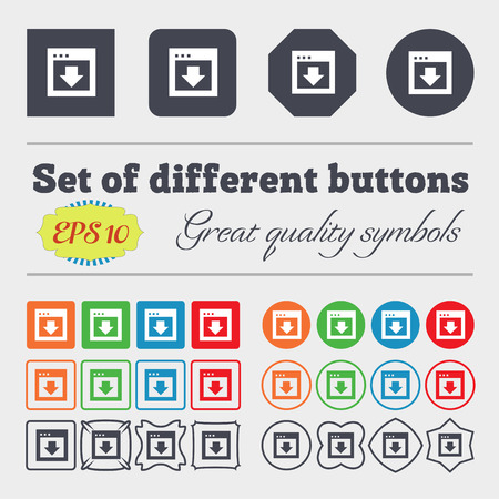 down load: Arrow down, Download, Load, Backup  icon sign Big set of colorful, diverse, high-quality buttons. Vector illustration