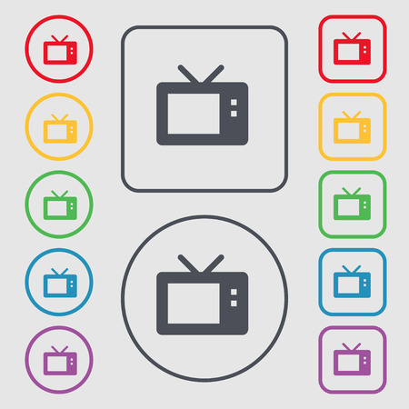 television aerial: Retro TV mode icon sign. symbol on the Round and square buttons with frame. Vector illustration
