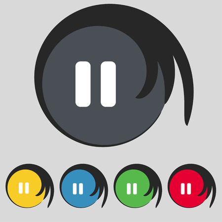 pause icon: pause icon sign. Symbol on five colored buttons. Vector illustration