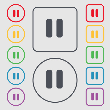 pause icon sign. symbol on the Round and square buttons with frame. Vector illustration
