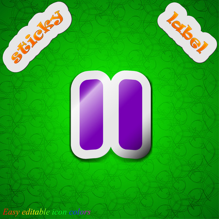 pause  icon sign. Symbol chic colored sticky label on green background. Vector illustration Vector