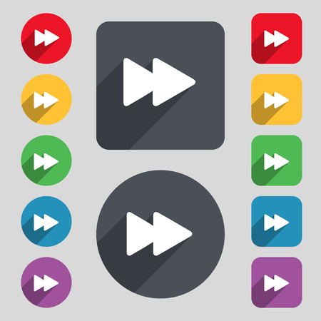 rewind: rewind icon sign. A set of 12 colored buttons and a long shadow. Flat design. Vector illustration