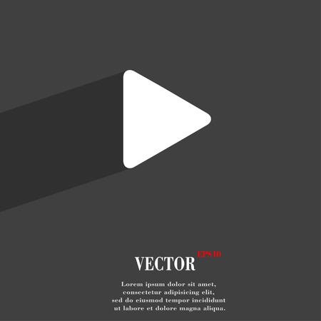 long play: play  icon symbol Flat modern web design with long shadow and space for your text. Vector illustration