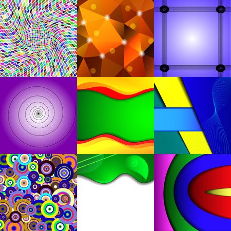 Set of nine different and colorful abstract backgrounds. Illustration